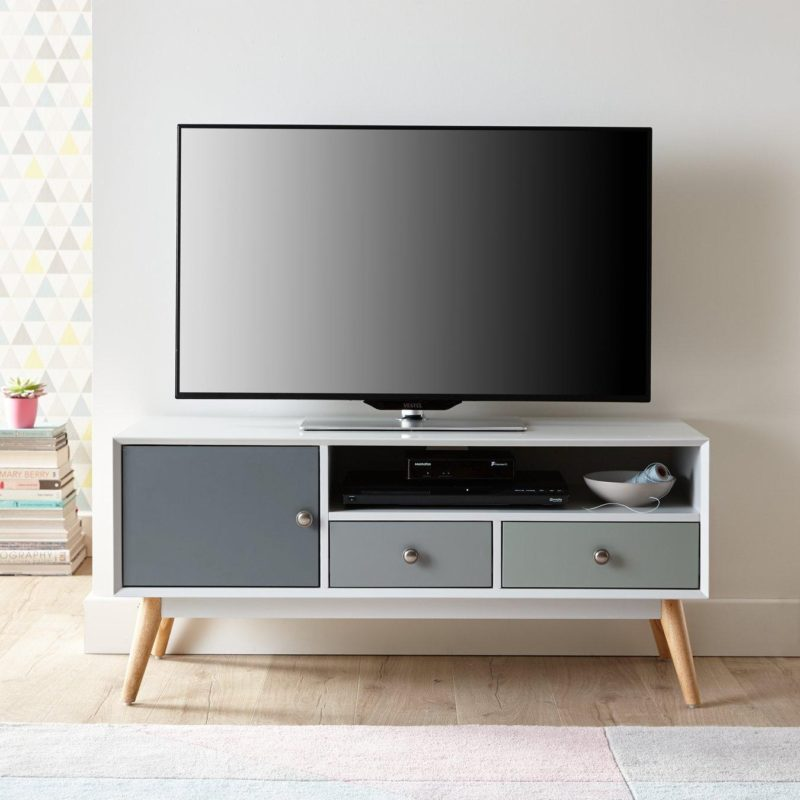 Retro-style TV stand with two-tone grey doors and drawers