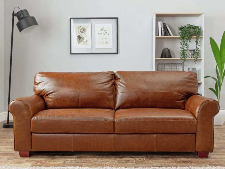 Wide 4-seater leather sofa