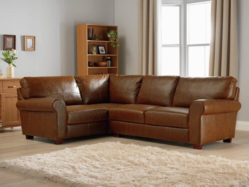 Left handed leather corner sofa