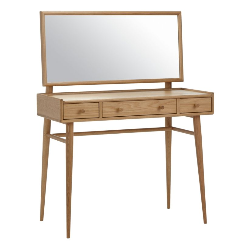 3-drawer dressing table with a wide mirror