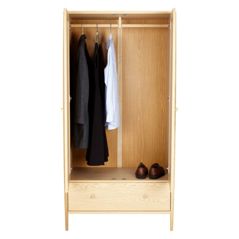 2-door oak wardrobe with drawer