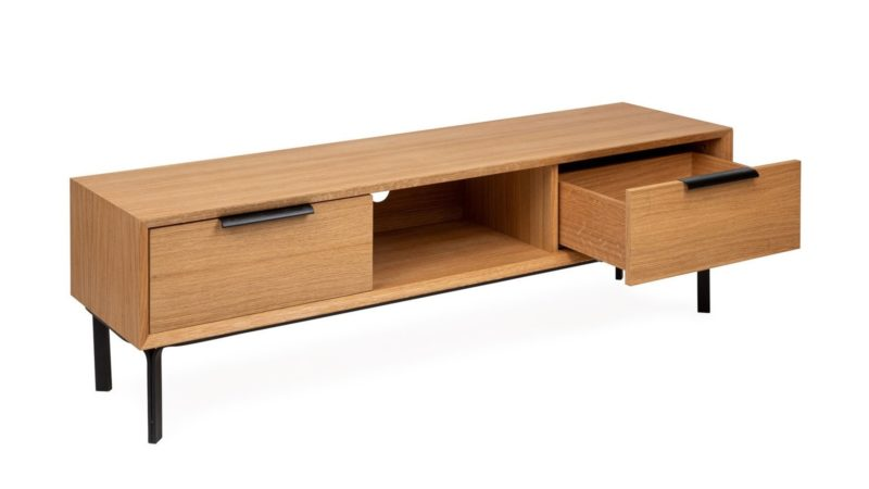2-drawer oak TV console