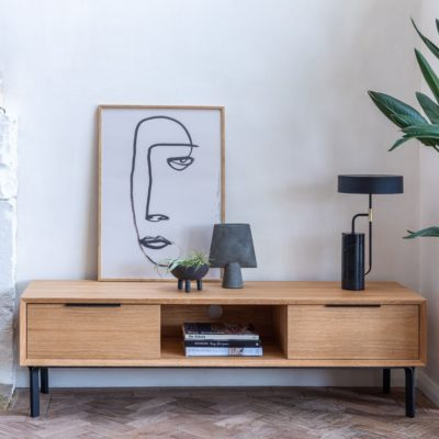 Scandi-style oak tv console