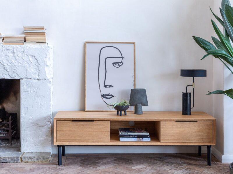 Scandi-style oak tv console