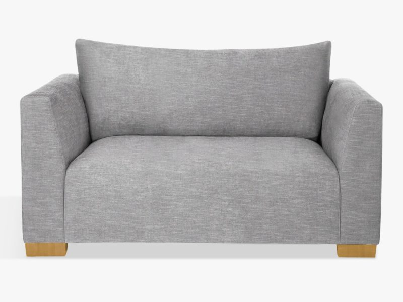 Grey fabric 2 seater sofa with bolster cushion