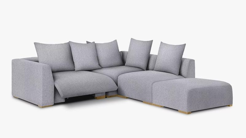 Grey fabric corner group with recliner