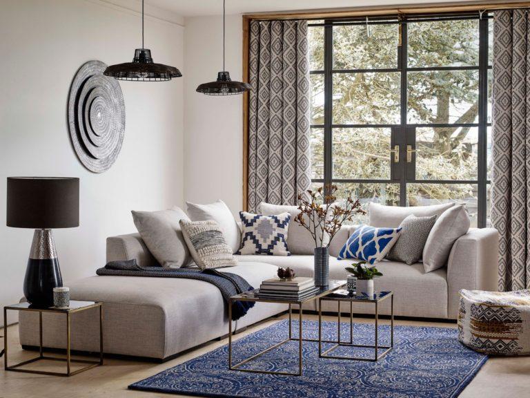 Grey modular low back sofa