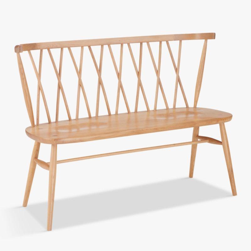 Oak bench with spindle backrest