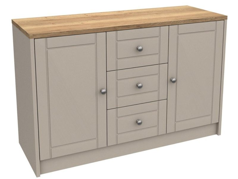 Taupe 2-door, 3-drawer sideboard