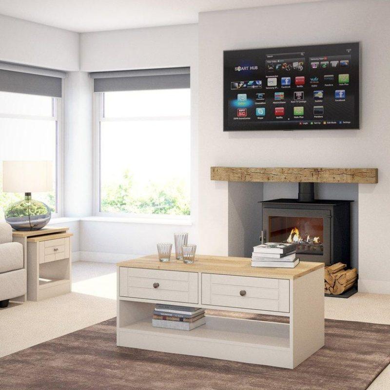 Cream and oak living room furniture