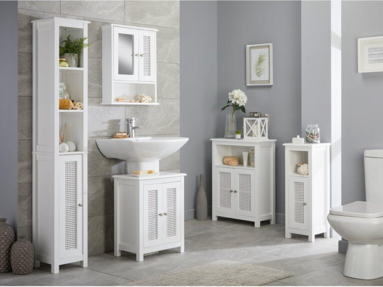White bathroom furniture with white rattan panels