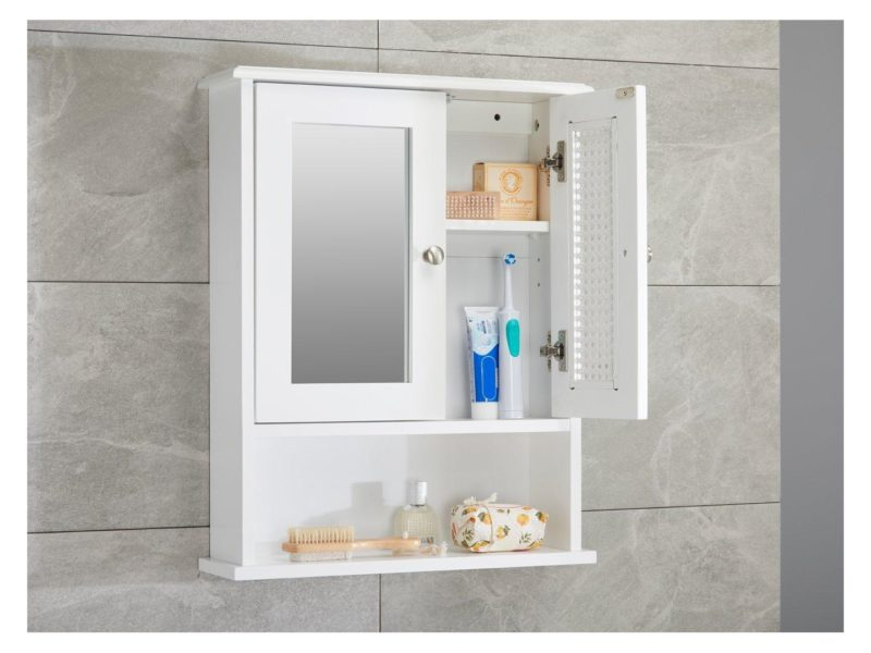 White mirrored wall mounted cabinet