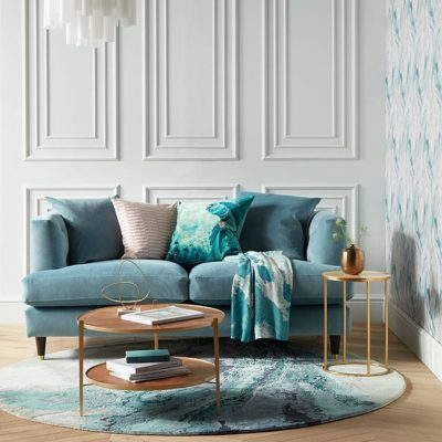 Teal velvet fabric sofa