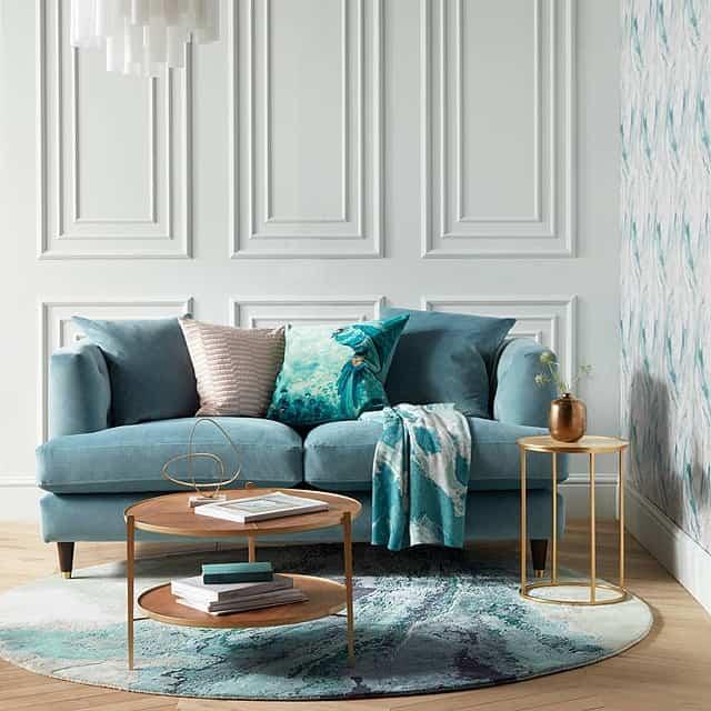 Teal velvet fabric sofa
