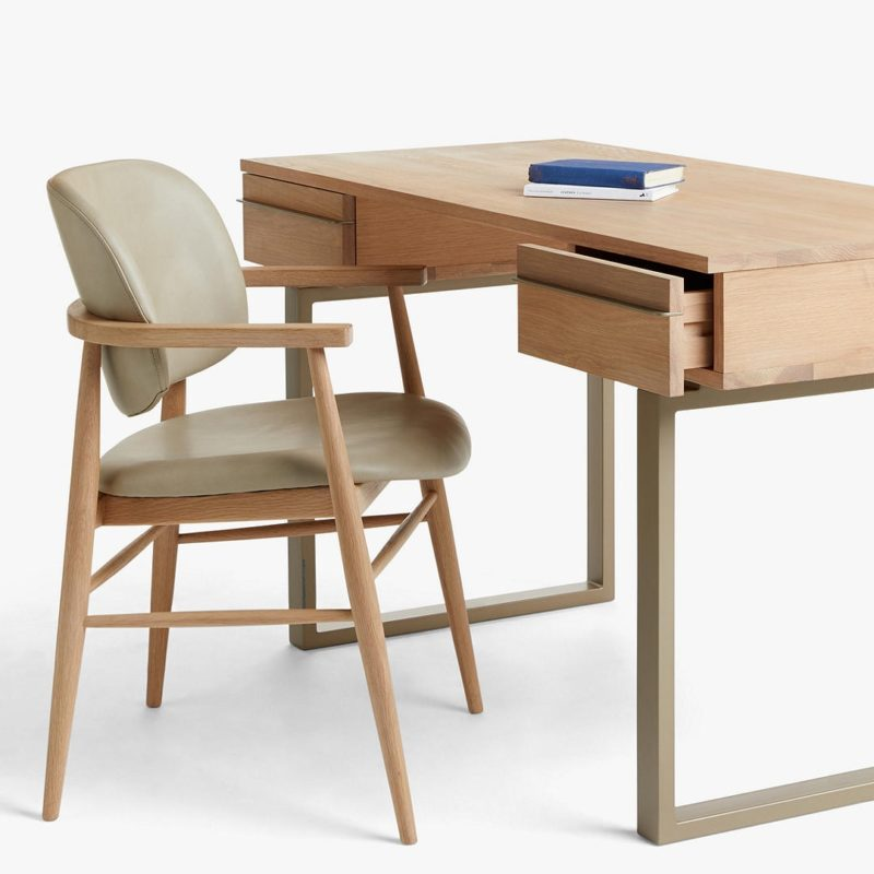 Oak 2-drawer desk with matching chair