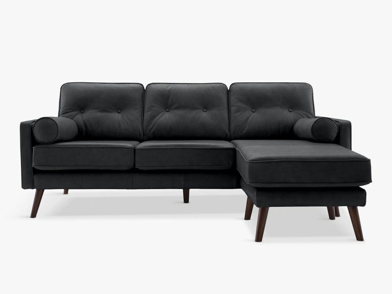 3-seater chaise end leather sofa