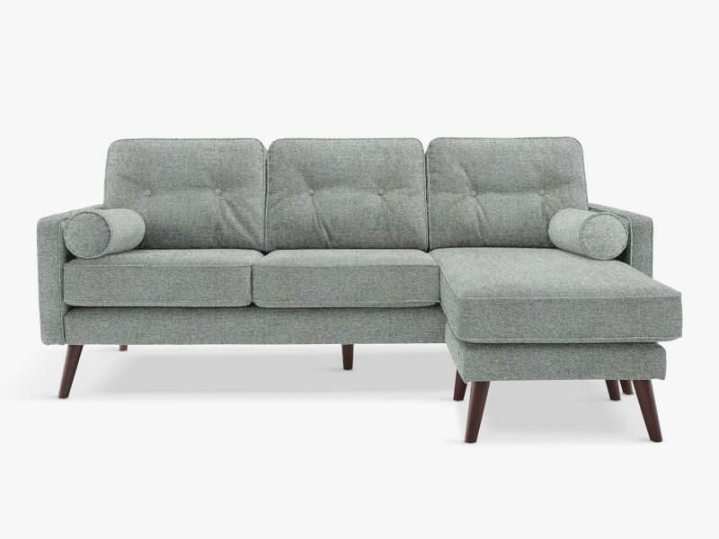 Fabric upholstered 3-seater chaise sofa