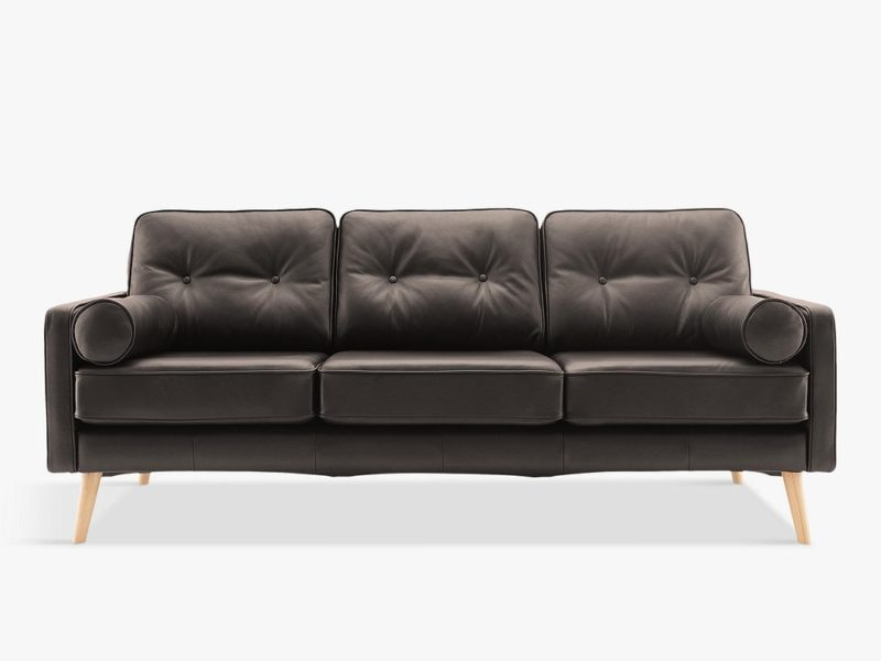 3-seater vintage-style leather sofa