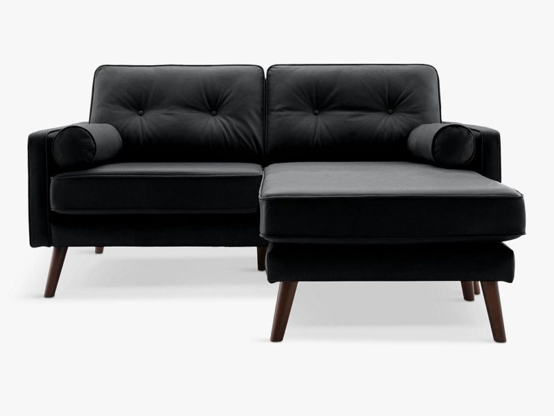 2-seater leather chaise sofa