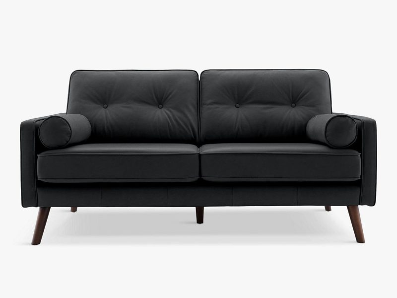 Vintage-style 2-seater leather sofa