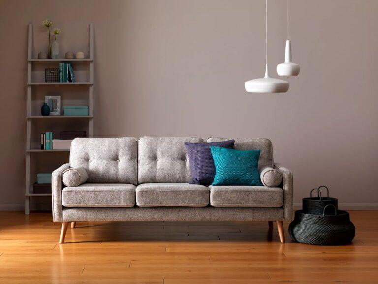 Mid-century-style fabric sofa