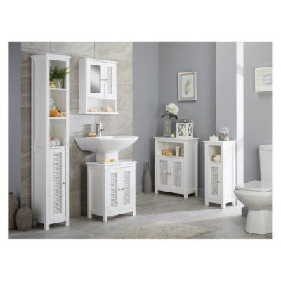 White bathroom units with rattan panel doors