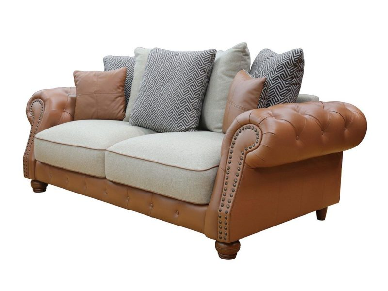 2-seater leather sofa with scatter cushion back