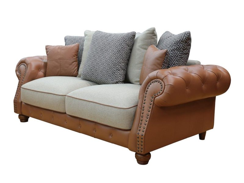 3 seater leather sofa with scatter back cushions