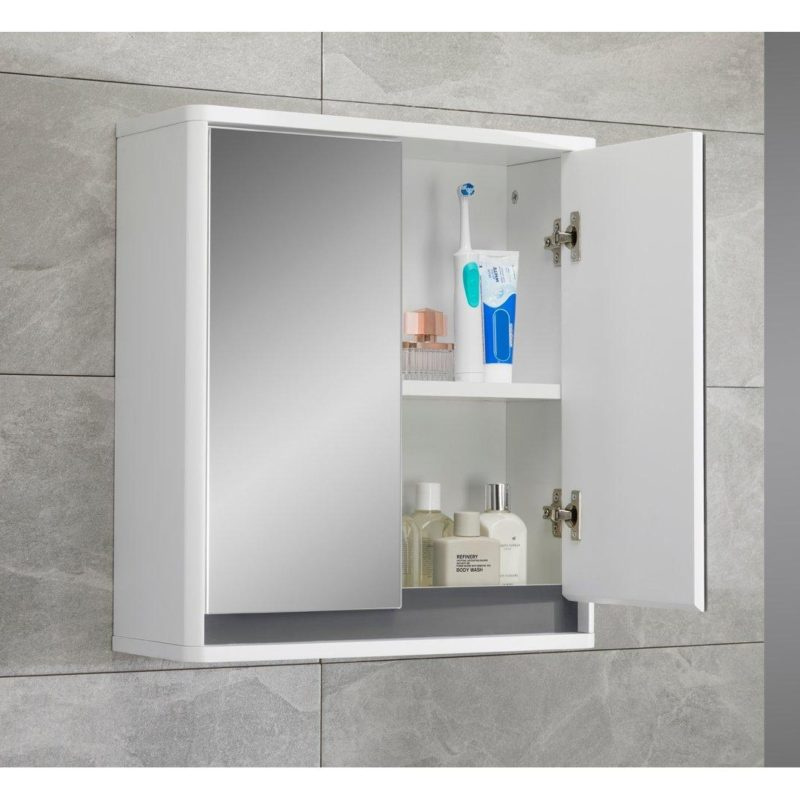 White gloss wall mounted cabinet with 2 mirror doors