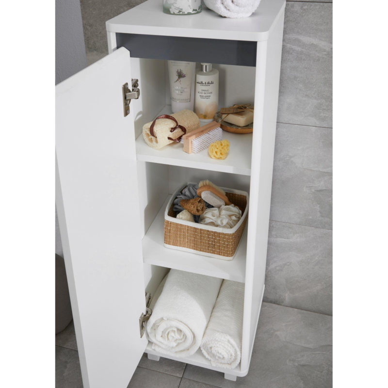White floor cabinet with internal shelving