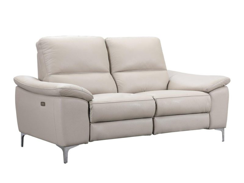 Power recliner leather sofa