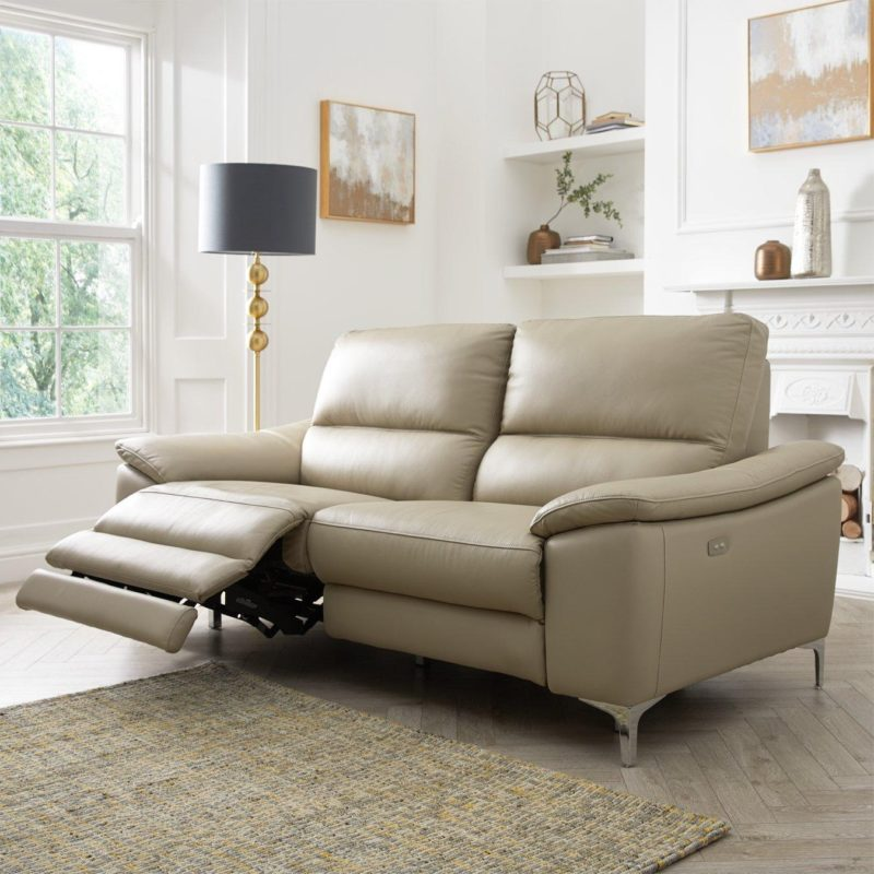 3 seater soft grey recliner sofa