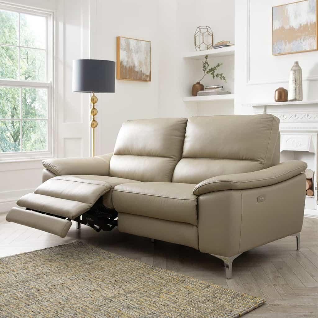 3 seater soft grey recliner sofa