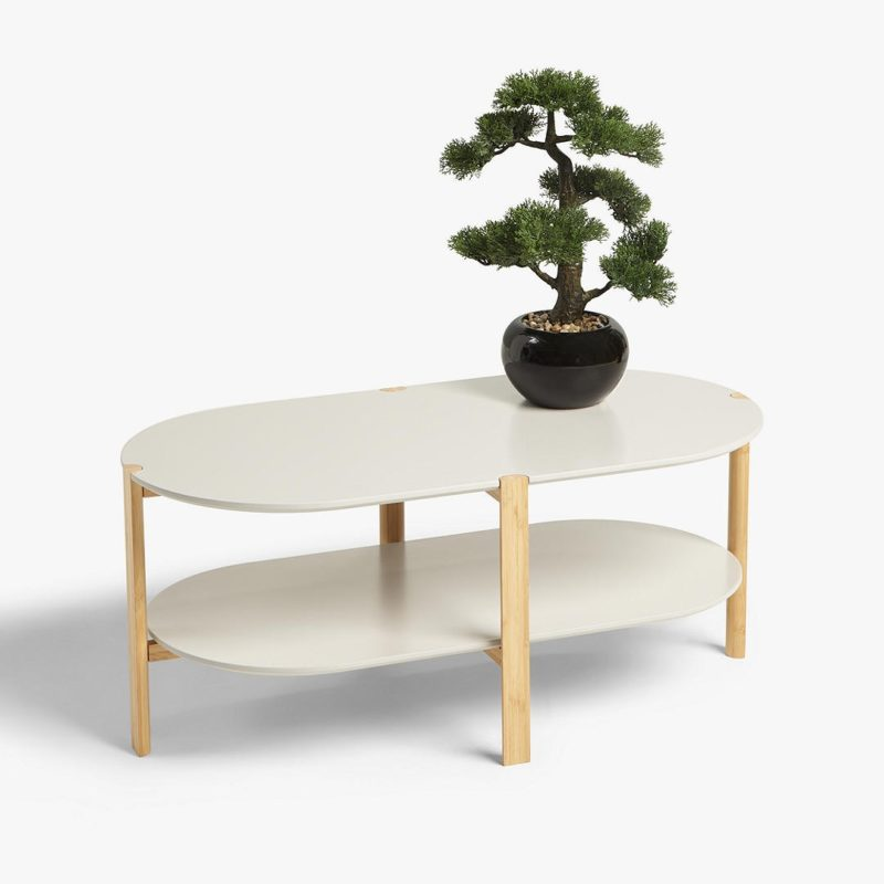 2-tier coffee table with rounded ends