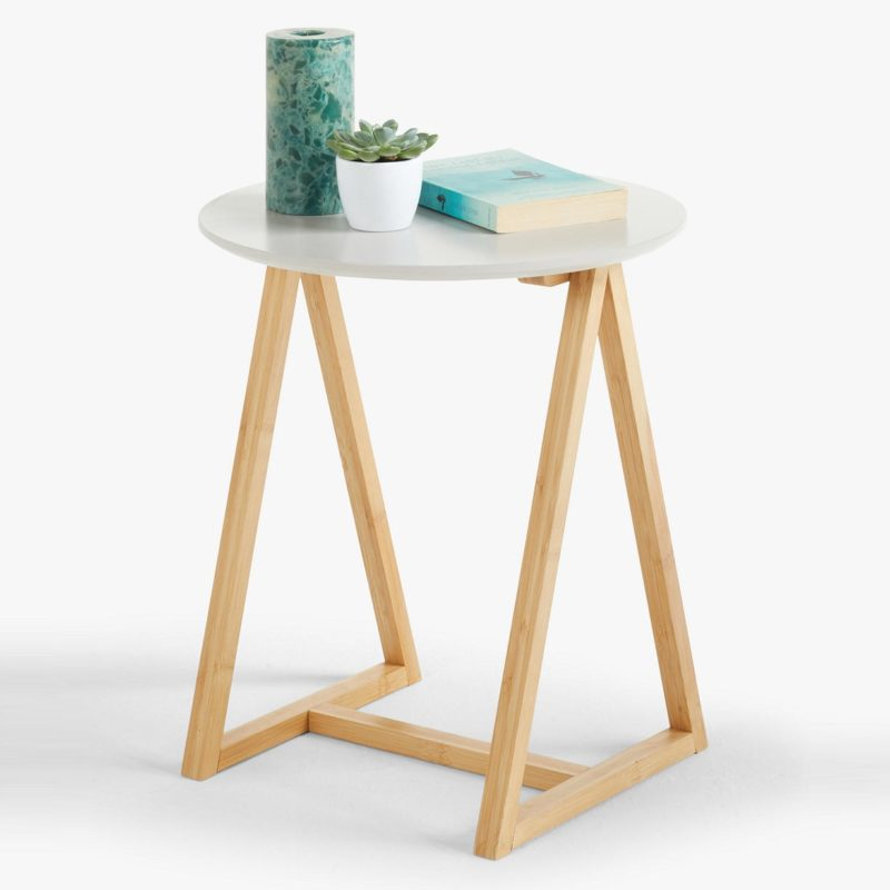 Wooden frame side table with painted top