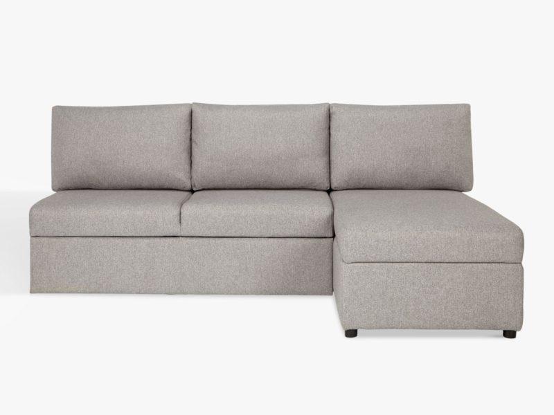 Grey fabric armless corner sofa