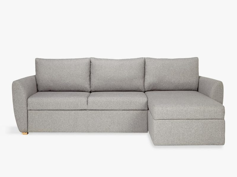 Grey fabric sofa bed with splayed arm