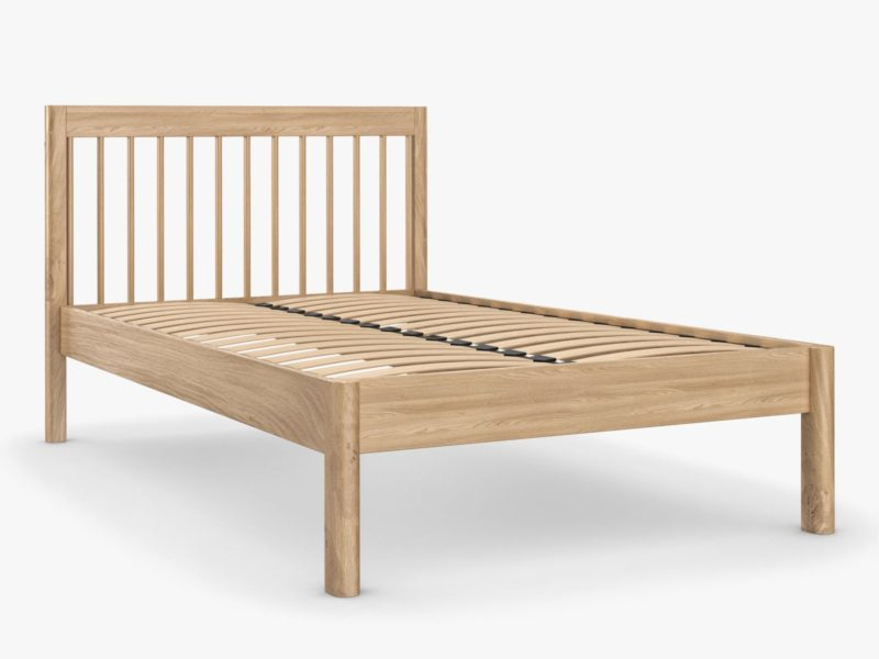 Oak bed frame with spindle headboard