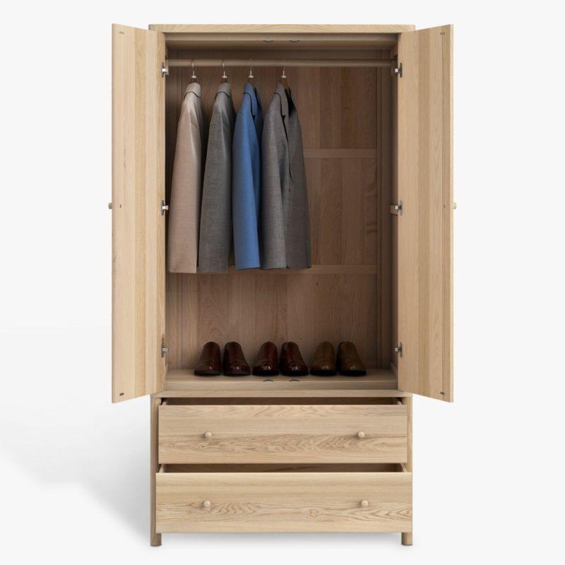 Double oak wardrobe with 2 drawers