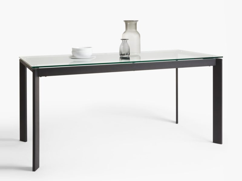Glass dining table with black metal frame