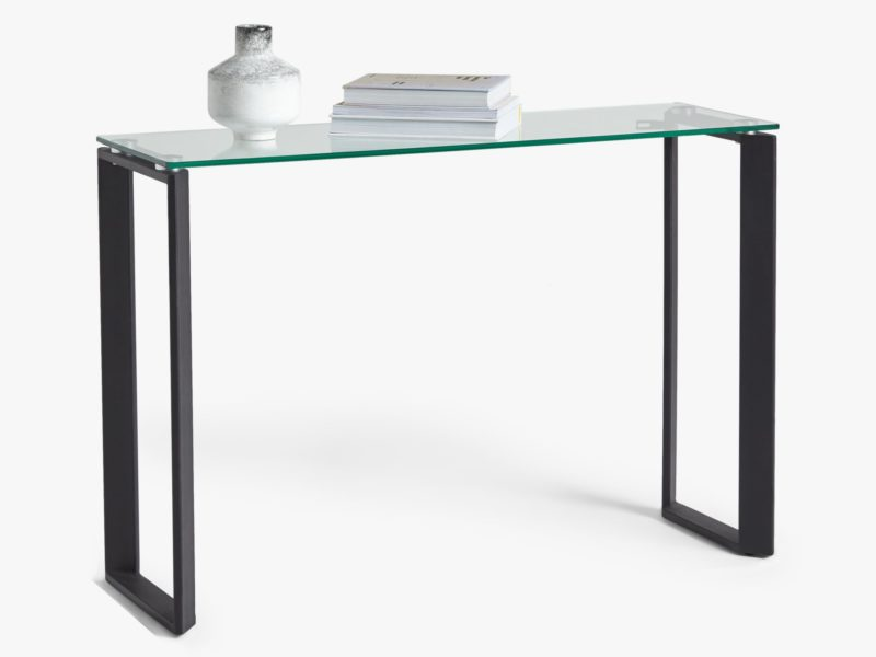 Console table with black metal frame and glass top
