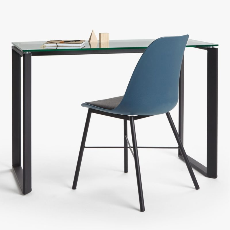 Glass top desk with black metal frame