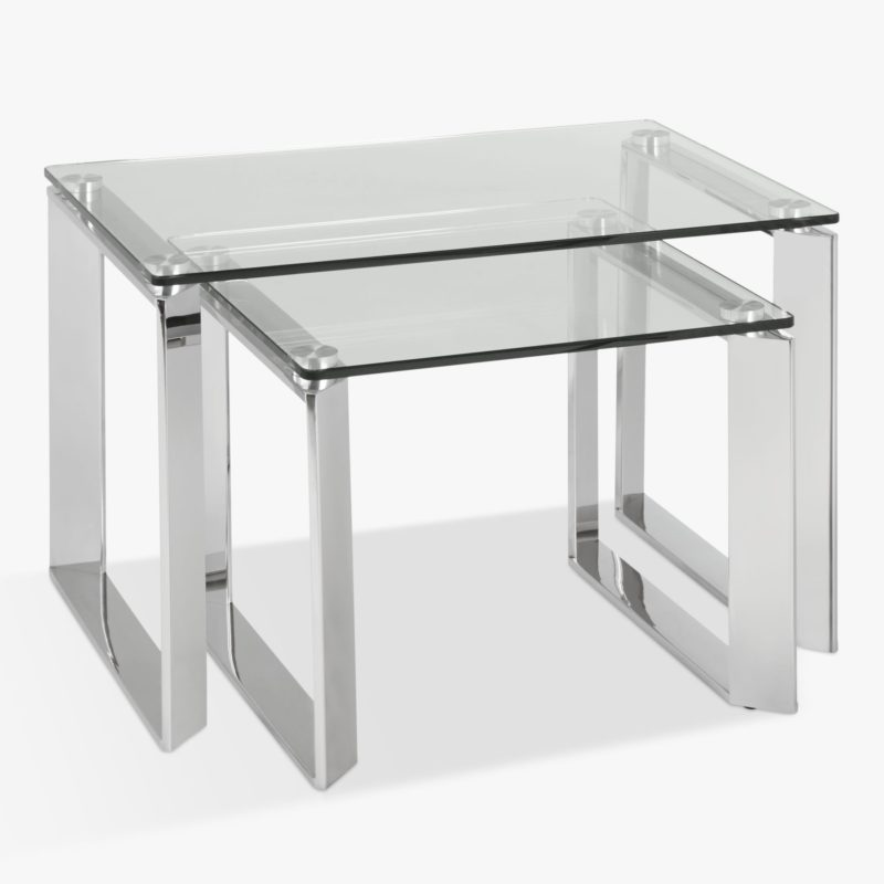 Nest of 2 glass tables with polished stainless steel frames