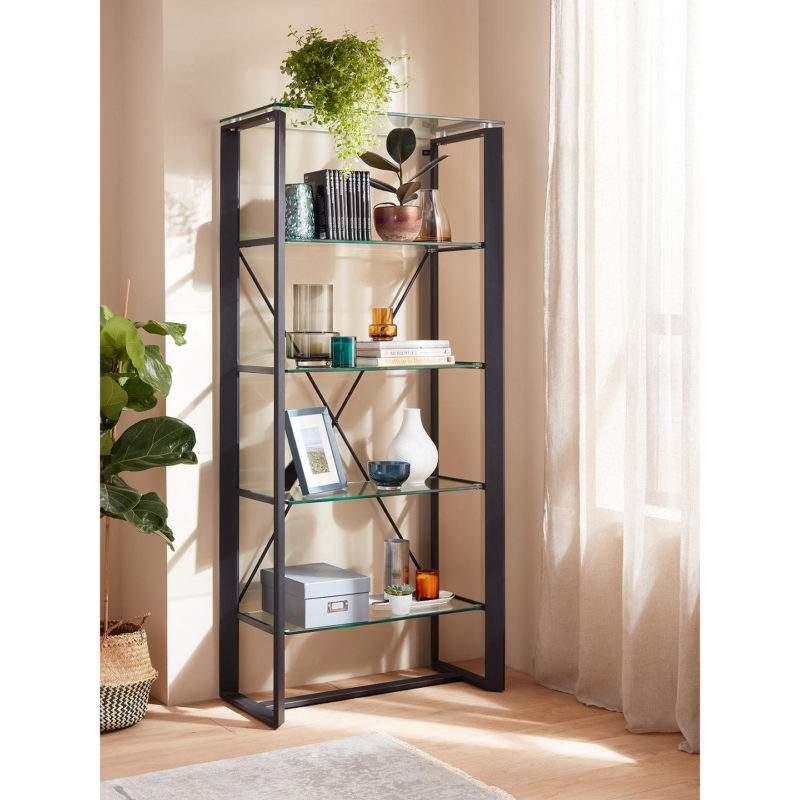 Black steel shelving unit with glass shelves