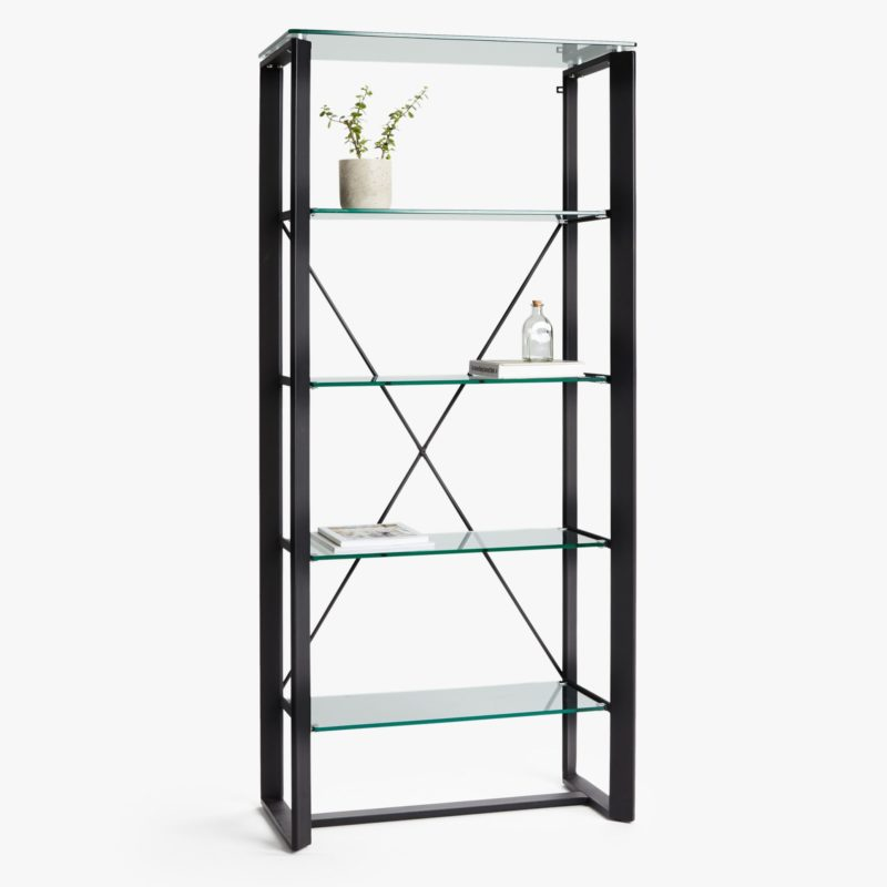 5-tier shelving unit with glass shelves and black metal frame