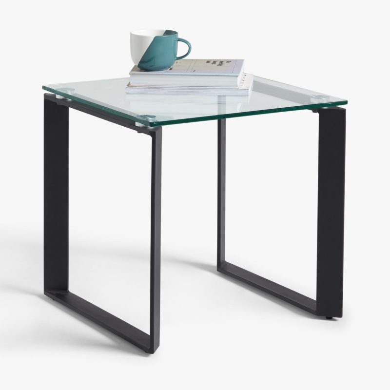 Glass side table with black metal frame