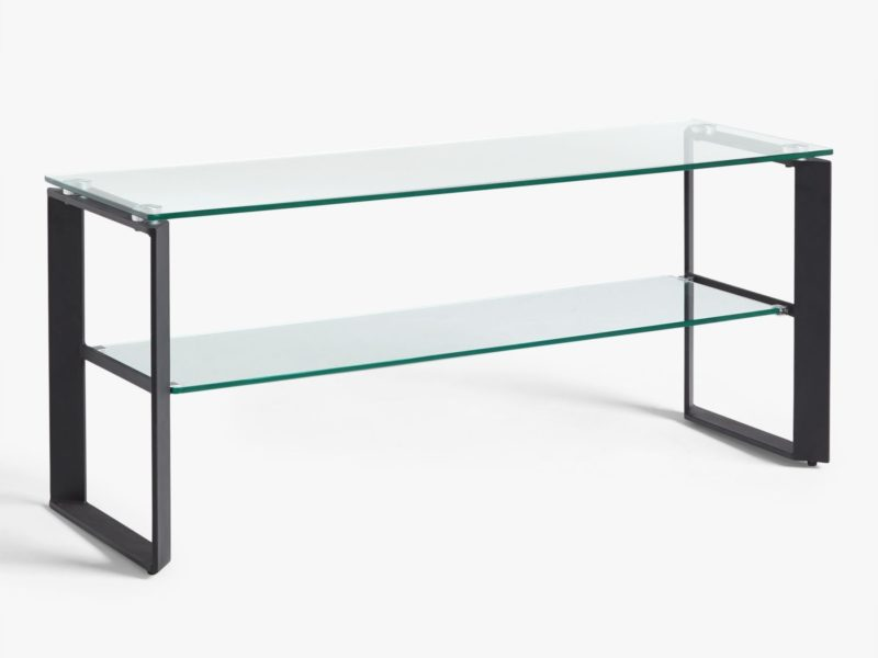 TV stand with black metal frame and 2 glass shelves