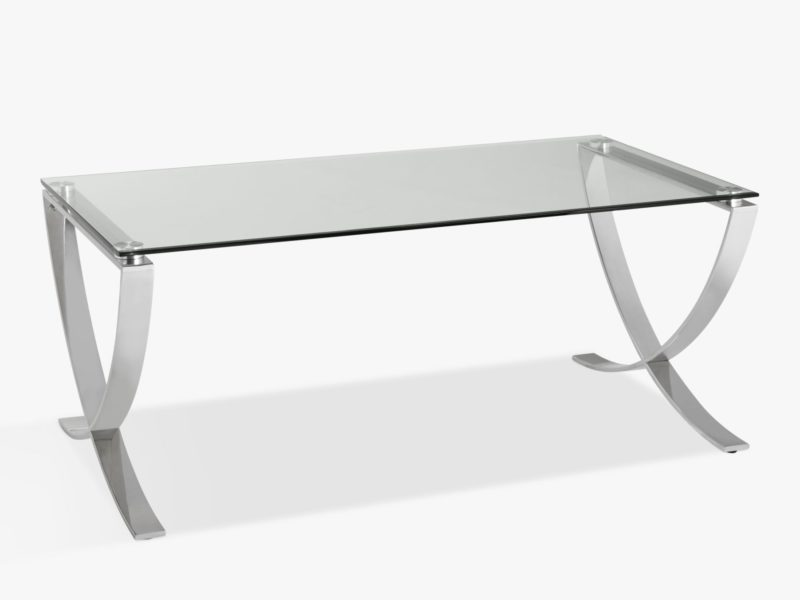 Glass top coffee table with curved metal legs