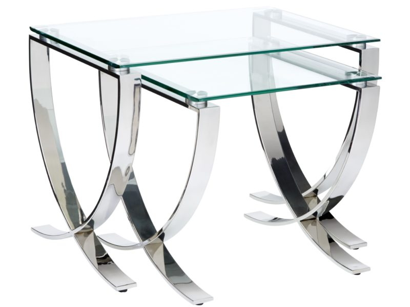 Two glass occasional tables with curved metal legs