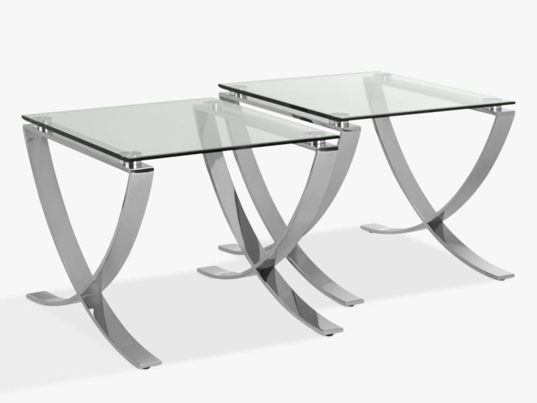 Pair of glass side tables with polished metal legs